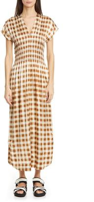 Ganni Gingham Smocked Waist Stretch Silk Midi Dress
