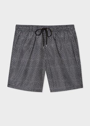 Paul Smith Men's Black And White Geometric Print Long Swim Shorts