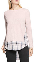 Vince Camuto Long Sleeve Mixed Media Canyon Plaid Top