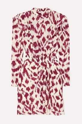 Etoile Isabel Marant Yoana Ruffled Printed Silk Crepe De Chine Mini Dress - Ecru