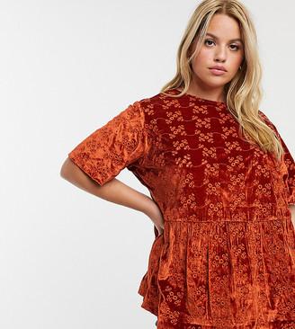 Asos DESIGN Curve smock top in velvet broidery-Brown