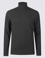 M&S Collection Cotton Rich Roll Neck Top