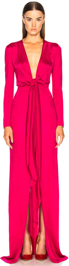 Givenchy Shiny Viscose Jersey Tie Knot Gown