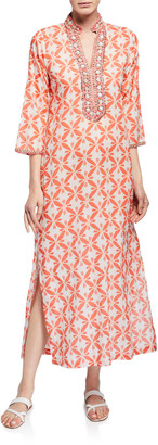 Bella Tu Marni 3/4-Sleeve Long Caftan w/ Mandarin Collar