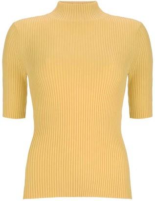 Mint Velvet Yellow Fine Ribbed Knit Jumper