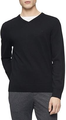 Calvin Klein Merino V-Neck Sweater (Black) Men's Sweater