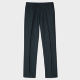 Paul Smith Men's Slim-Fit Dark Green Mini-Check Wool Trousers