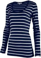Top Legging TL Women's Long Sleeve Casual Slim fit Striped V-Neck and Round Neck T shirt NAVY_WHITE L