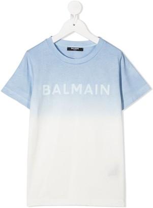 Balmain Kids ombre logo T-shirt