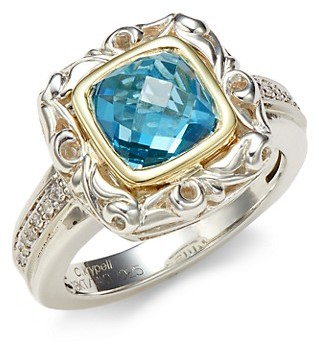 Charles Krypell Sterling Silver, Two-Tone Gold, Blue Topaz Diamond Ring