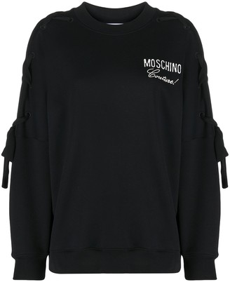 Moschino Logo-Embroidered Laced-Sleeve Sweatshirt