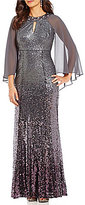 Ignite Evenings Keyhole Neck Sleeveless Sequin Chiffon Capelet Gown