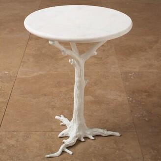 Global Views Faux Bois End Table Color: White