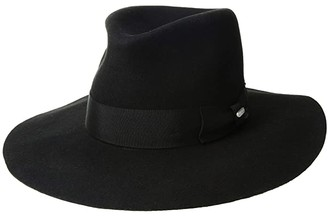 San Diego Hat Company WFH8040 Wide Flat Brim Fedora (Black) Fedora Hats