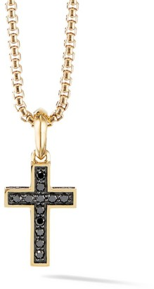 David Yurman The Pave Collection Cross 18K Yellow Gold & Black Diamond Enhancer Pendant