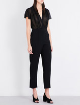 Sandro Pointers crepe and chiffon jumpsuit