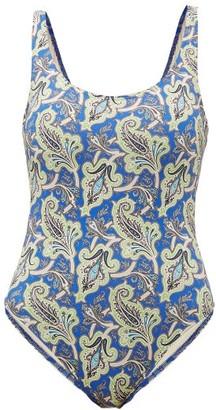 Etro Low-back Paisley-print Swimsuit - Blue