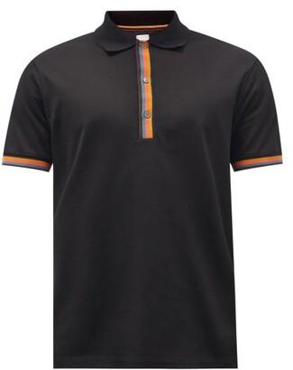 Paul Smith Artist-stripe Cotton-pique Polo Shirt - Black