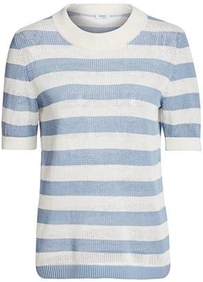 Akris Punto Striped Mesh Knit Pullover Top