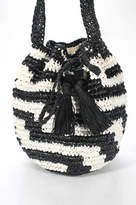 J.Crew J Crew Black White Striped Woven Material Tie Closure Medium Shoulder Handbag