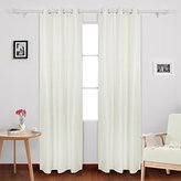 Deconovo Faux Linen Blackout Panels Thermal Insulated Grommet Drapes Blackout Curtains With Coating Back Layer for Bedroom 38x84 Inch 1 Pair White