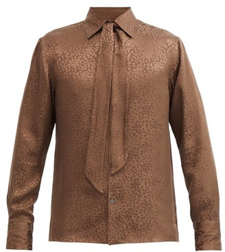 73 London - Cheetah-jacquard Neck-tie Silk Shirt - Brown