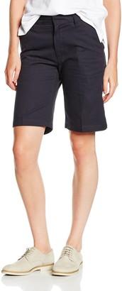Henbury Ladies Twin Pleat Front Chino Shorts With Teflon Coating Navy 8