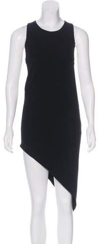 Anthony Vaccarello Leather-Accented Asymmetrical Dress w/ Tags