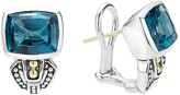 Lagos 18K Gold and Sterling Silver Caviar Color Huggie Earrings with London Blue Topaz