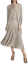 Stella McCartney Metallic Pleated Boat-Neck Dress