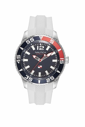 Nautica Men's Pacific Beach Stainless Steel Japanese-Quartz Watch with Silicone Strap