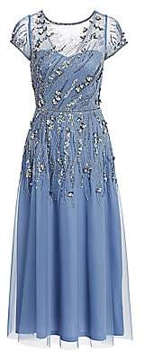 Theia Women's Boat-Neck Tulle Hand Beaded Dress