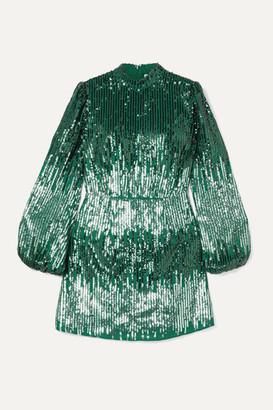 Rixo Samantha Sequined Crepe Mini Dress - Dark green