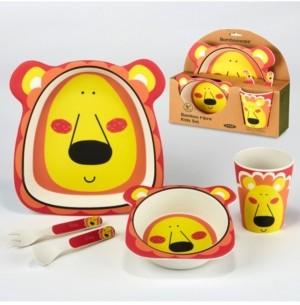 Certified International Lion Eco Friendly Bamboo Fiber 5-Pc. Kids Dinnerware Set