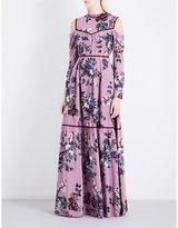 Erdem Sabine cold-shoulder silk-crepe gown
