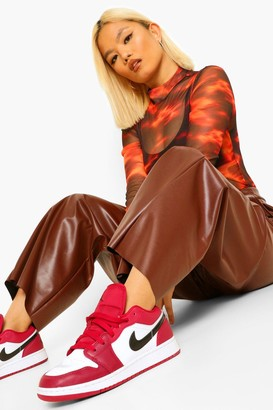 boohoo Petite Pu Seam Detail Wide Leg Trousers