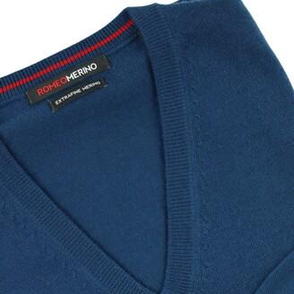 Romeo Merino - Merino Wool V-Neck Sweater Blue Majolica