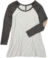 Magic Fit Charcoal & White Elbow Patch Raglan Tee