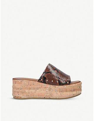 Kurt Geiger Monica snakeskin-embossed flatform sandals