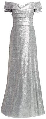 Rene Ruiz Collection Off-The-Shoulder Sequin Gown