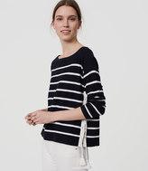 LOFT Petite Striped Lace Up Side Sweater