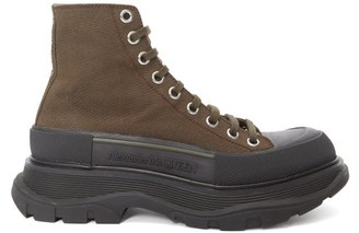 Alexander McQueen Chunky-sole Canvas Ankle Boots - Womens - Black Khaki