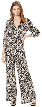 BCBGMAXAZRIA Long Sleeve Printed Jumpsuit (Neutral/Classic Leopard) Women's Jumpsuit & Rompers One Piece