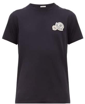 Moncler Double Logo Applique Cotton T Shirt - Mens - Navy
