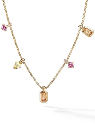 David Yurman 18kt yellow gold Novella Spessartite garnet, yellow beryl and diamond necklace
