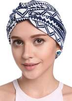 YI HENG MEI Women's Elegant Floral Pleated Indian Turban Hat Chemo Cancer Cap Sleep Cap