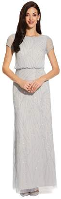 Adrianna Papell Womens Blue Blouson Beaded Dress - Blue
