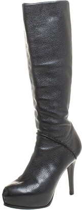 Fendi Black Textured Leather Mid Calf Platform Boots Size 38.5
