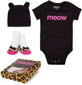 """Trumpette 3-Piece """"Meow"""" Bodysuit, Hat & Socks Gift Set in Black"""