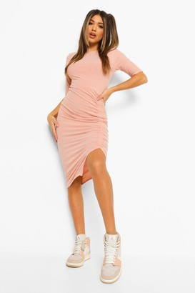 boohoo Rib Rouched Detail Midi Dress